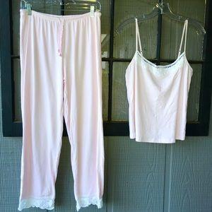 Ralph Lauren pajama set, pale pink w/lace accents